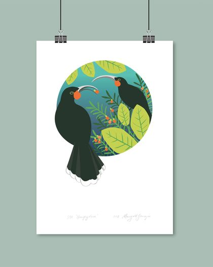A4 Hungry Huia Digital Art Print