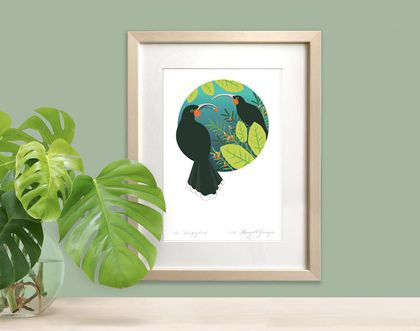 Framed Hungry Huia Signed Print