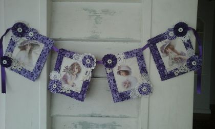 Purple fabric bunting of vintage ladies