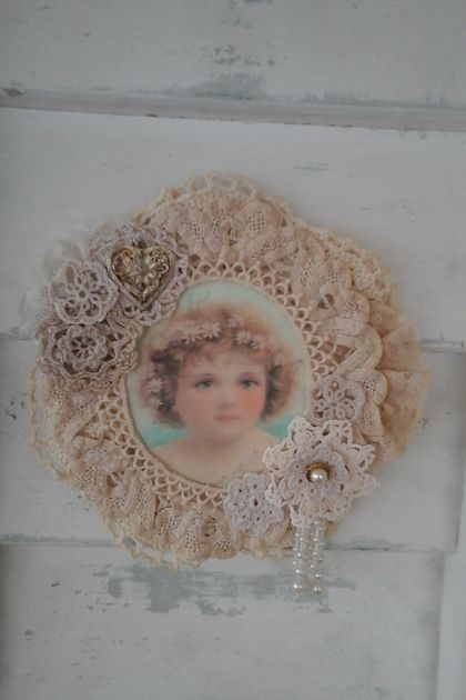 vintage cupid doily wallhanging