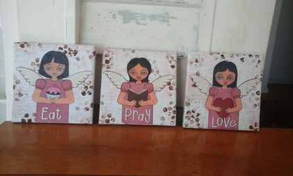 Angel 'Eat, Pray, Love' canvas triptych