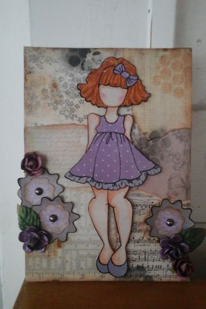 Multimedia girl canvas in lilac