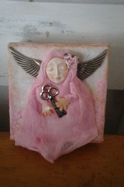 Mixed Media Pink Angel Canvas