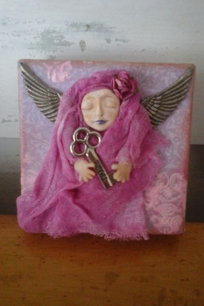 Mixed Media Purple Angel Canvas