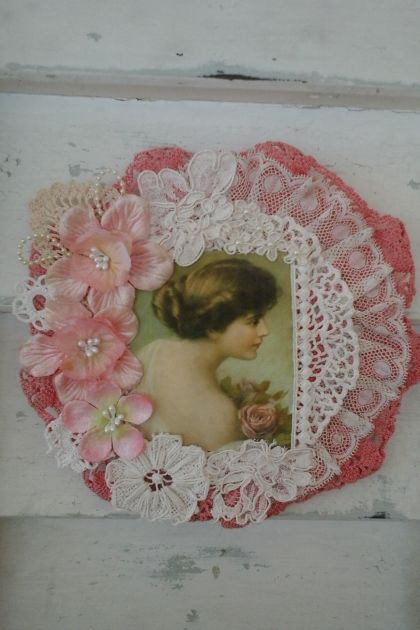Vintage Pink Lady Doily Wall hanging