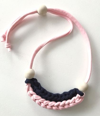 Modern Necklace - Navy & Soft Pink