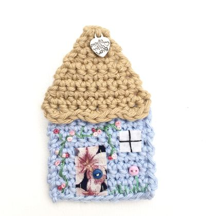 Crocheted Cottage Brooch - Pale Blue & Beige - Special Order for Sarah