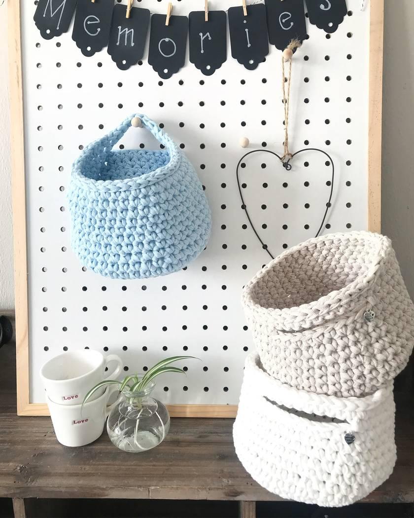 Single Handled Textile Baskets - Sky Blue & Pearl White