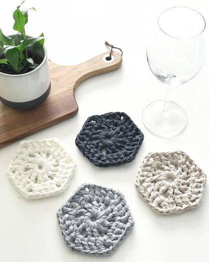 Hexagonal Coasters - Set of 4 - Slate, Silver, Sandy Ecru & Pearl White