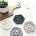 Hexagonal Coasters - Set of 4 - Slate, Silver, Sandy Ecru & Pearl White