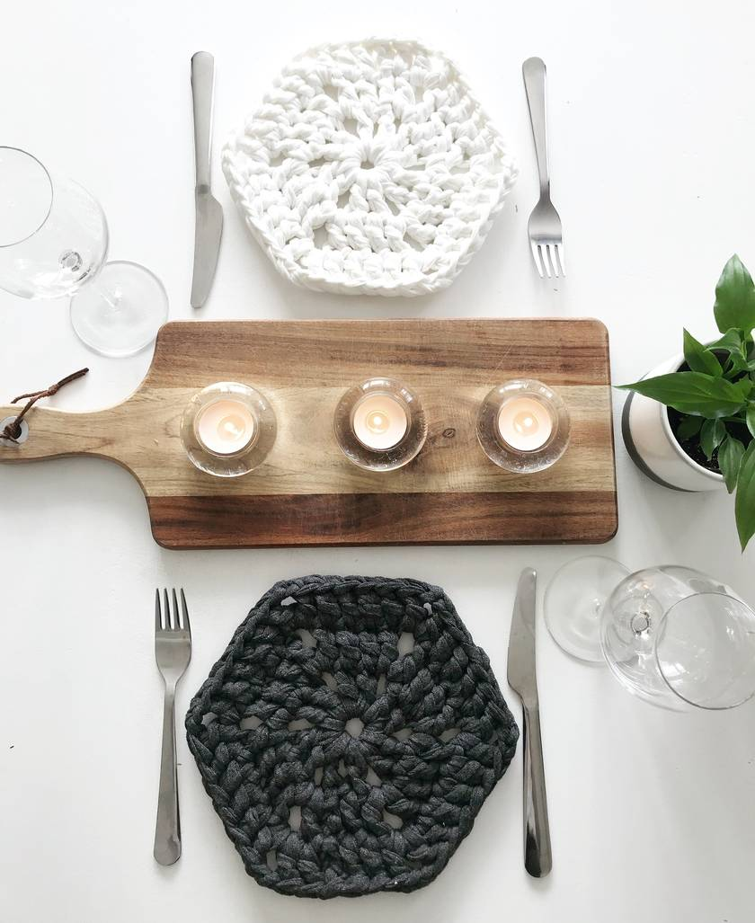 Modern Hex Placemats - Set of 4 - Slate, Silver, Sandy Ecru & Pearl White
