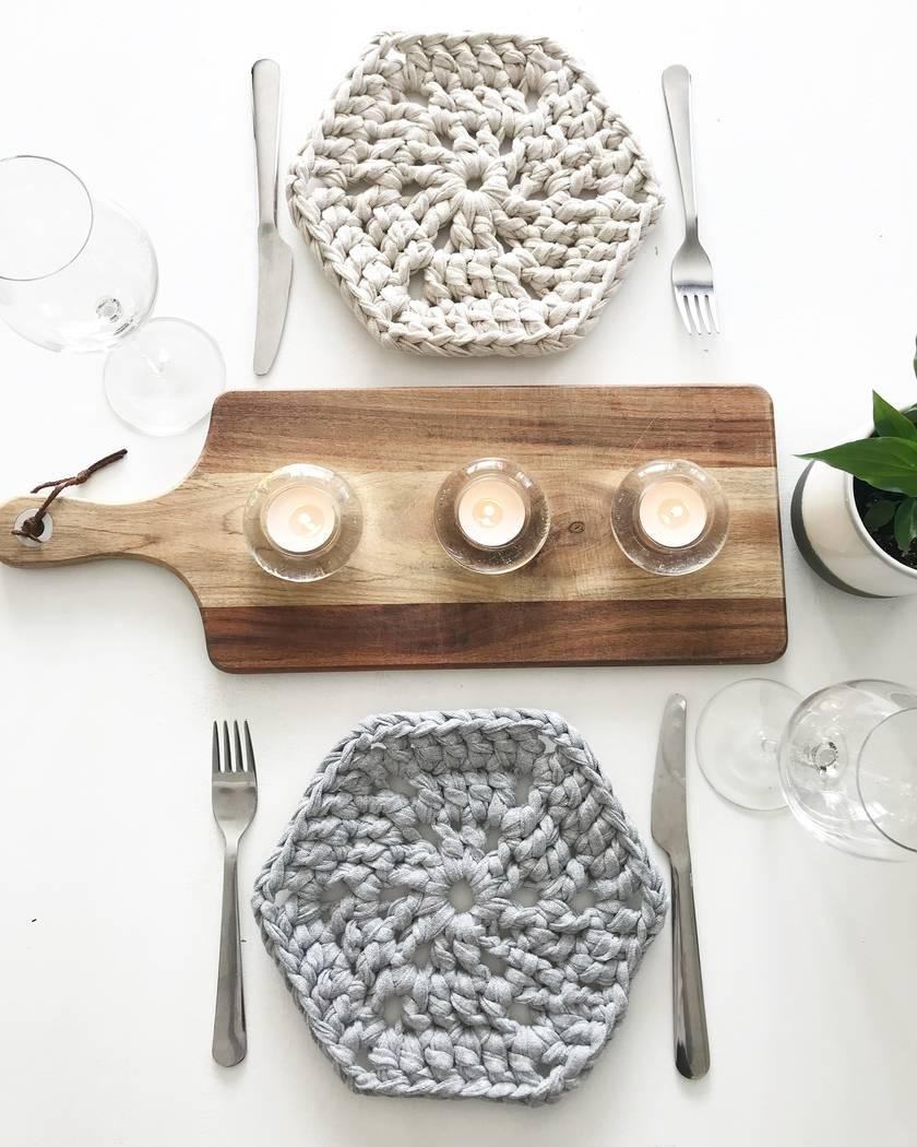 Modern Hex Placemats - Set of 4 - Slate, Silver, Sandy Ecru & Pearl White