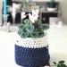 Double Handled Textile Basket - Dark Denim & Pearl White