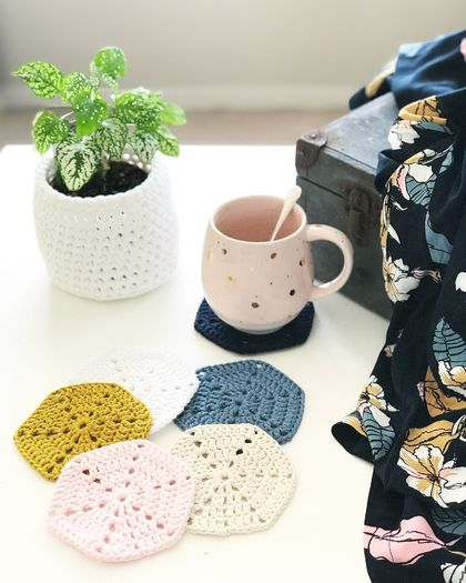 Scandi Cotton Coasters - Set of 6 - With Midnight
