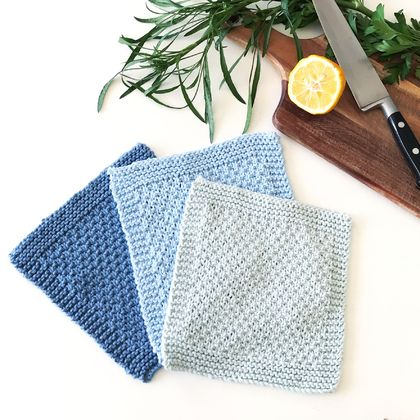 Dishcloths/Facecloths - Blues - Set of 3