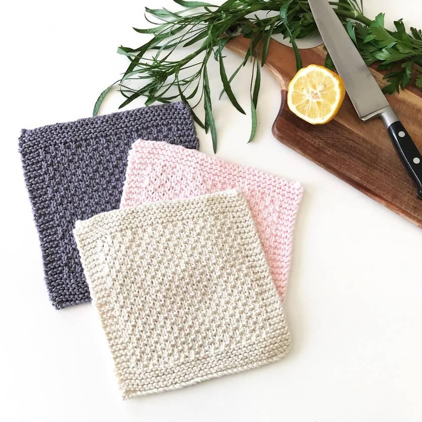 Dishcloths - Pink/Grey - Set of 3