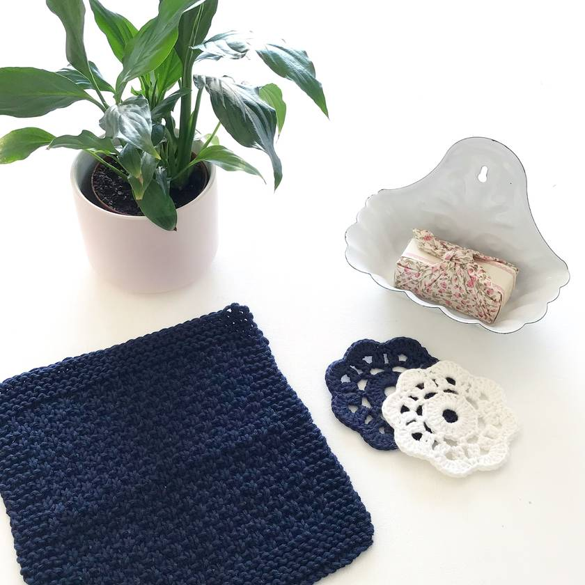His & Hers Facecloth Set - Midnight & Pearl White