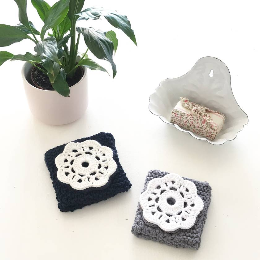 His & Hers Facecloth Set - Slate & Ice White
