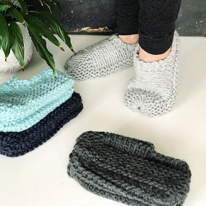 Virgin Wool/Acrylic Cloud Slippers - Men's