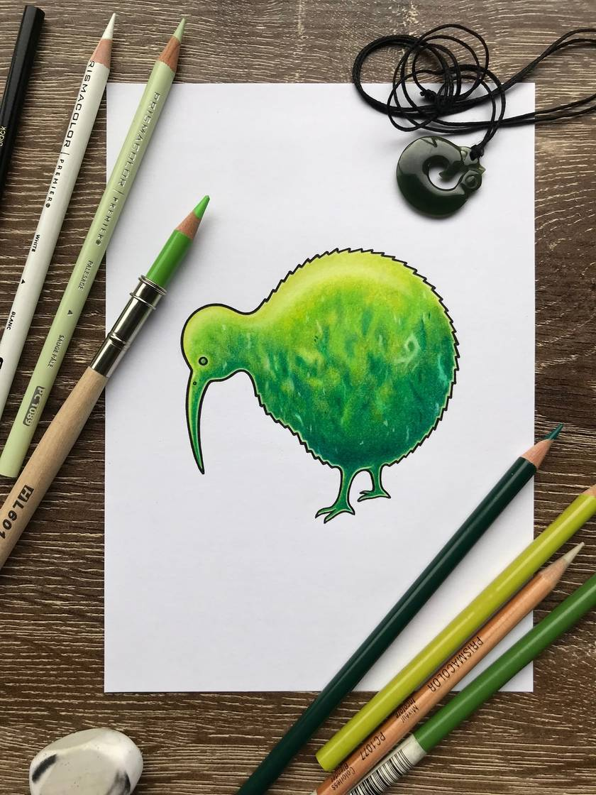 Greenstone/Pounamu Kiwi Bird Print