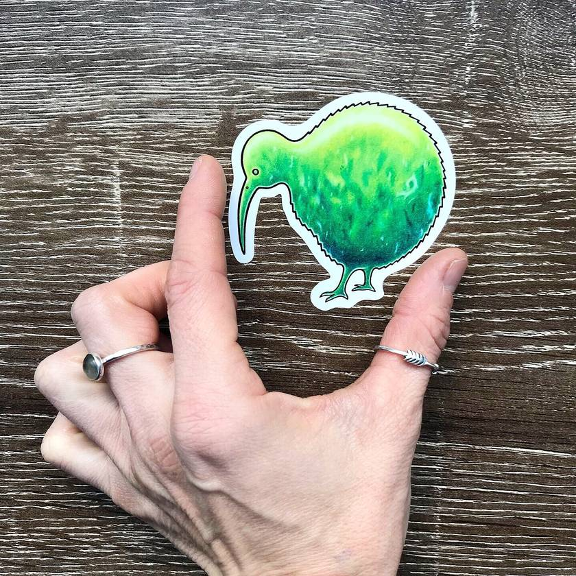 Greenstone/Pounamu Kiwi Bird Vinyl Sticker