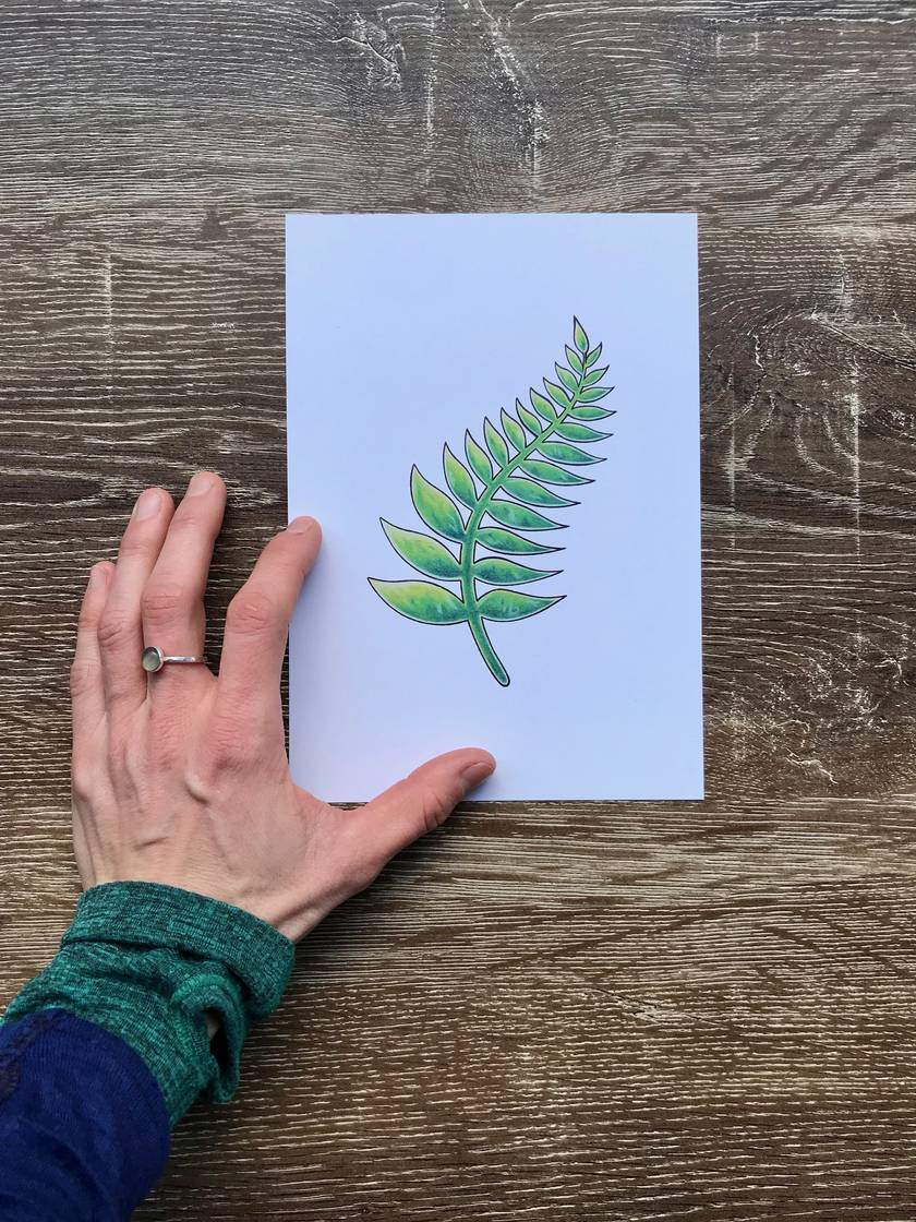 Fern Leaf Greenstone Drawing A5 Print