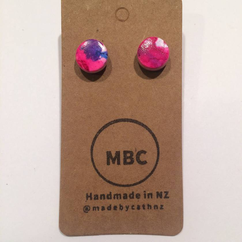Alcoholink - Blue & Magenta - Classic Small Studs - Handmade in NZ