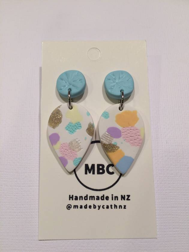 Pastel Spots Dangles - Handmade Polymerclay Earrings