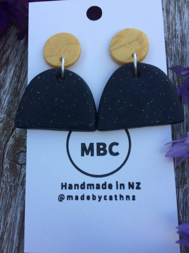 Sale - Colour Block - Half Oval Dangles - Handmade in New Zealand