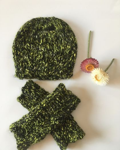 Sale - Knitted Peruvian Alpaca Hat & Arm Warmers - Handmade In NZ