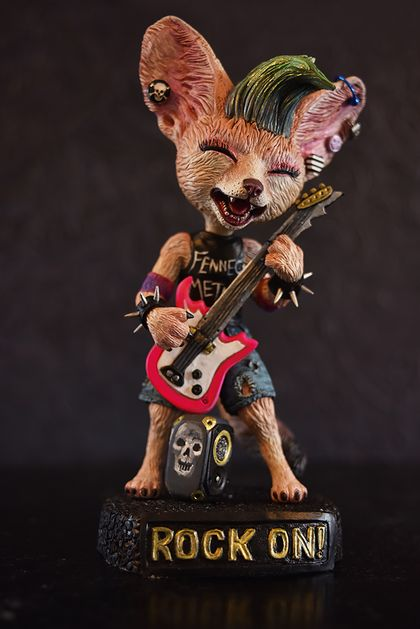Fennec Fox rock star -original OOAK hand made sculpture (One of a kind) fox character guitar music lover pink black figurine statuette