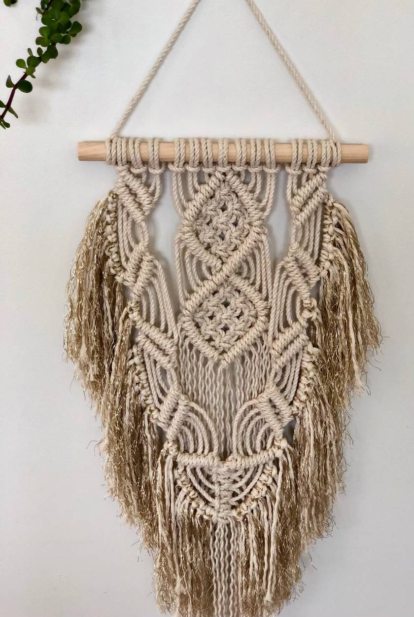 Metallic Fringed Wall Hanging