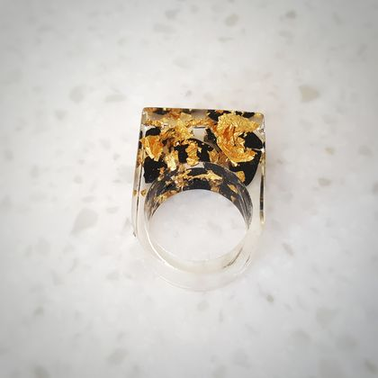 Black Tourmaline and Pure Gold Flakes in Resin Ring