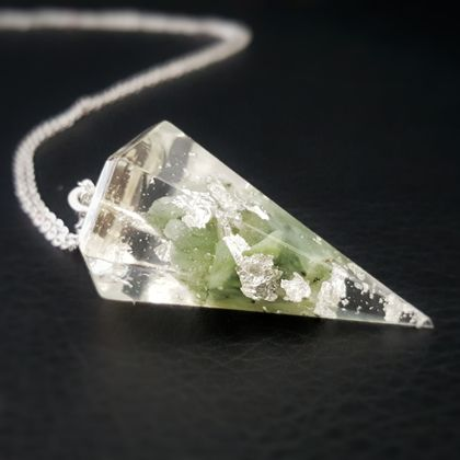 NZ Genuine Greenstone(Pounamu) and Pure Silver Leaf In Hexagonal pyramid Resin Necklace