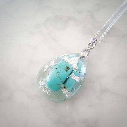 Turquoise and Silver Leaf in Resin Necklace ( Teardrop )