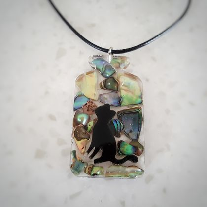 Black Cat In The Paua Bottle Necklace