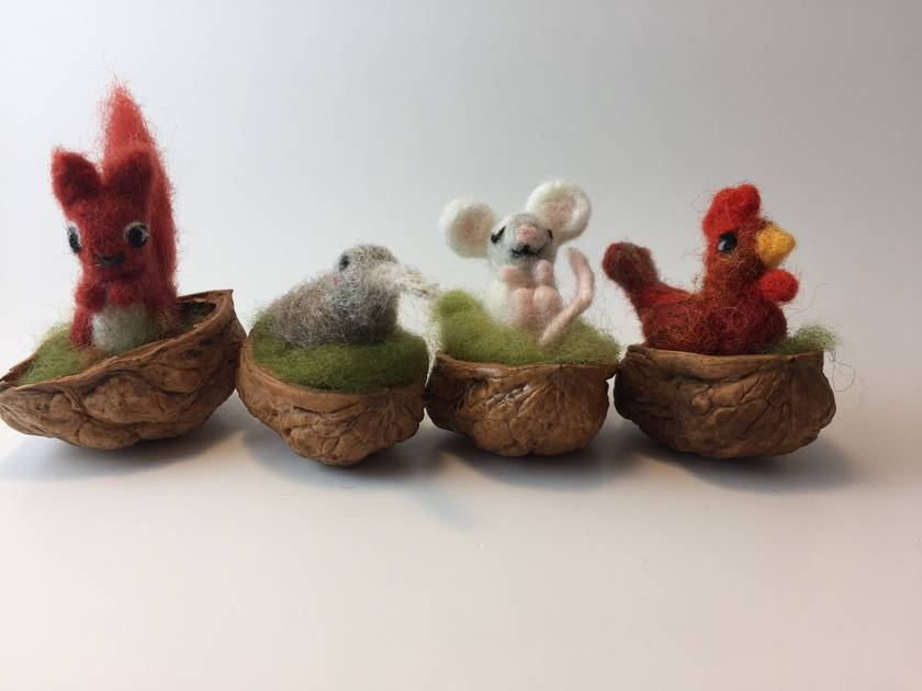 Walnut baby best friends set -chicken, kiwi, mouse, squirrel