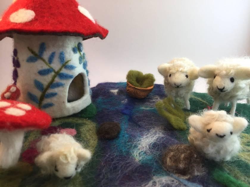 Walnut Sheep, mother and lamb