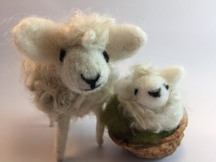 Walnut Sheep, mother and lamb