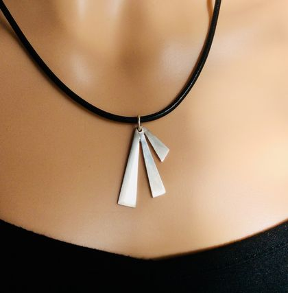 Art Deco inspired silver pendant