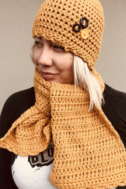 Stylish crochet hat and scarf.