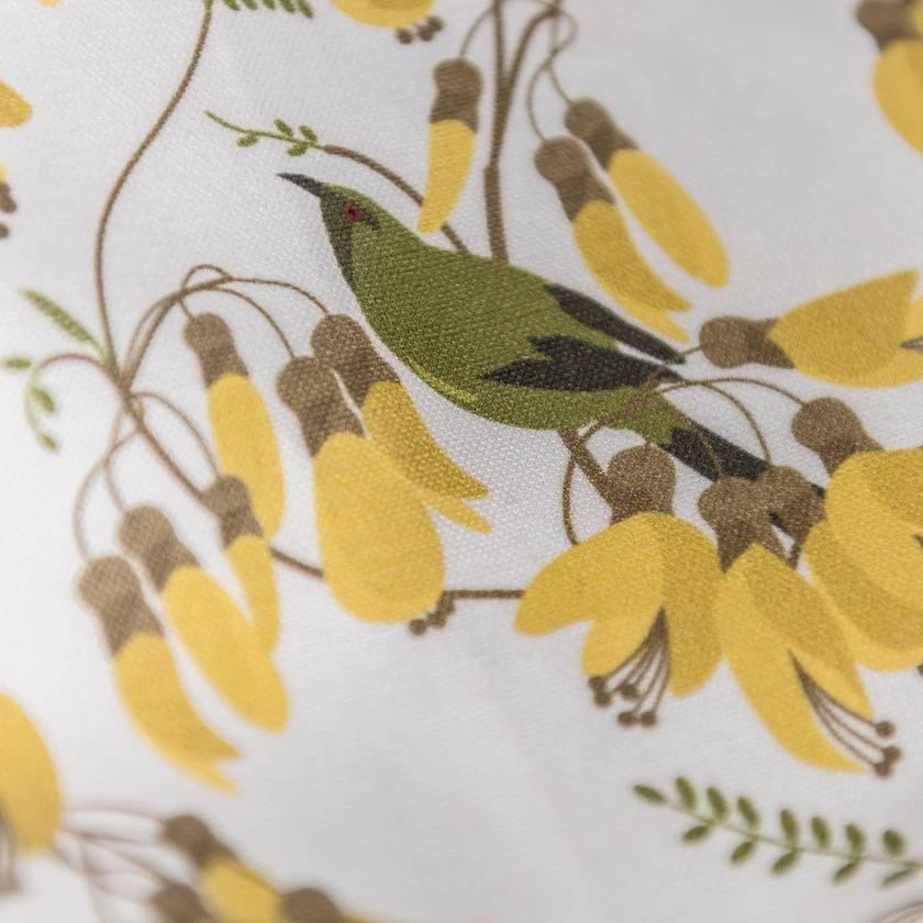 Statement Cushion Cover in Kowhai Botanical print