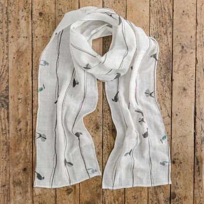 Gauze Scarf in NZ Birds On A Wire print