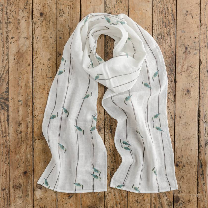 Scarf in Kōtare (Kingfisher) On A Wire print