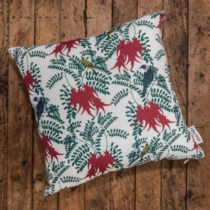 Statement Cushion Cover in Kākābeak Botanical print