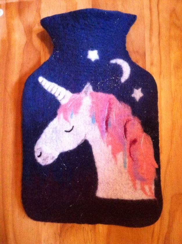 Midnight unicorn hot water bottle cover