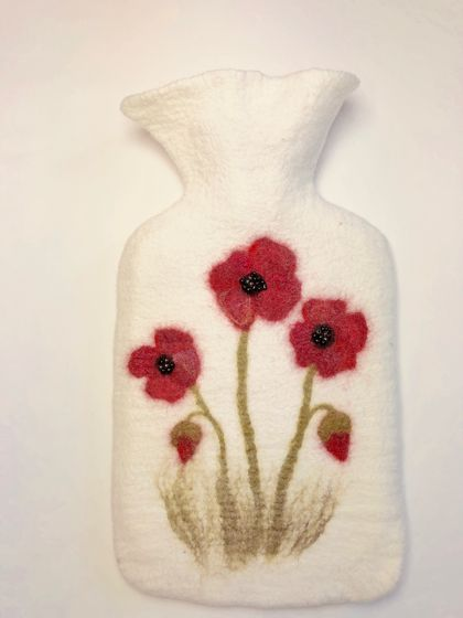 "Original felted ""poppy"" hottie cover"