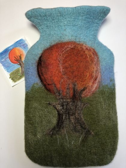 "Original felted ""Sunset Tree"" hottie cover"