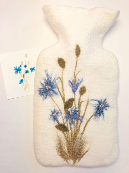 "Original felted ""Cornflower"" hottie cover"