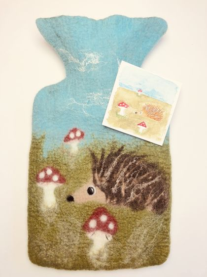 "Original felted ""Hedgehog and toadstools"" hottie cover"